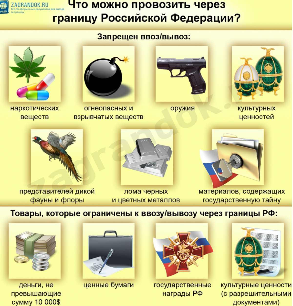 Что можно провозить через границу Российской Федерации