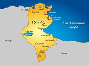 Тунис на карте