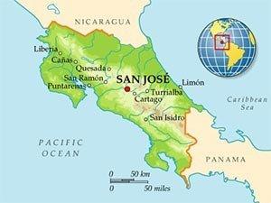 Коста-Рика на карте