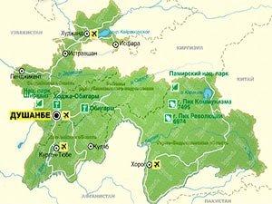 Таджикистан на карте