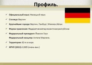Профиль Германии