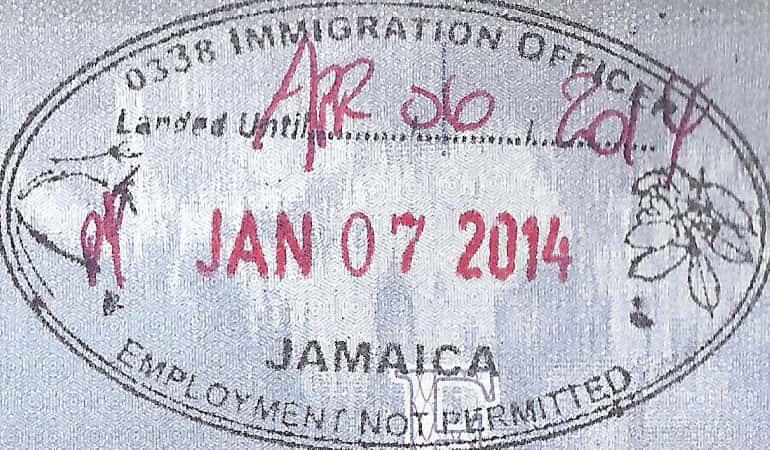 Штамп о прибытии на Ямайку