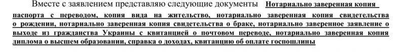 Заявление о принятии гражданства РФ: список документов