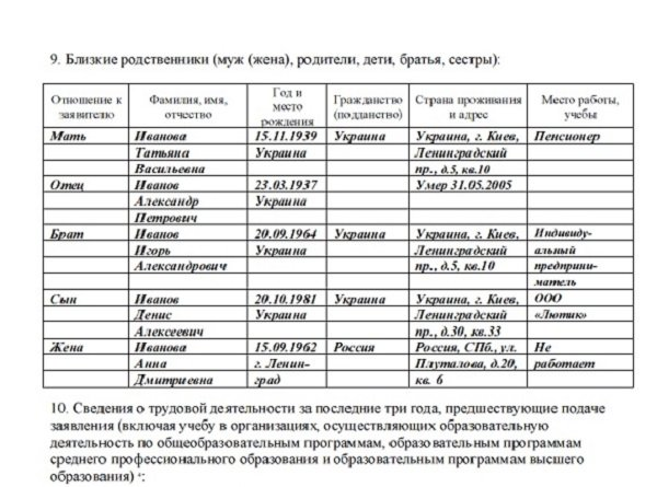 Заявление на вид на жительство нового образца бланк 2015 образец заполнения - e01