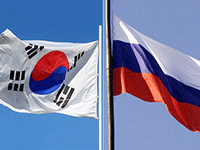 Флаг России и Южной Кореи