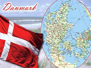 Флаг и карта Дании