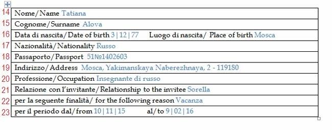 Образец заполнения Приглашения в Италию