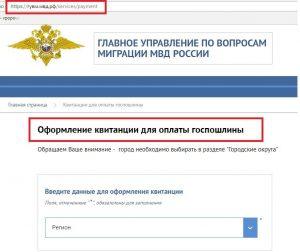 Оформление квитанции на сайте ГУВМ МВД РФ